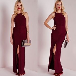 Missuided Burgundy Maxi Dress with Front Slit
